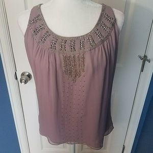 Matty M Dressy Purple Sleeveless Top Medium
